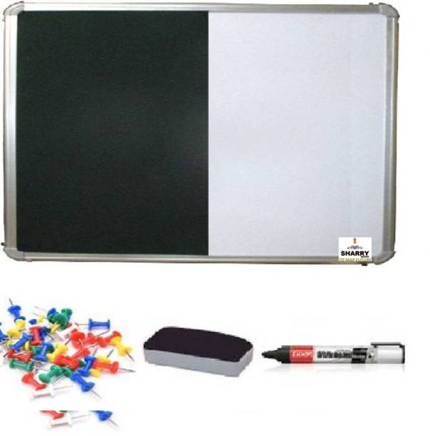 Sharry Combi (Notice board + Whiteboard) Green Nova 1.5' foot x 2' feet (10 board Pins) Notice Board