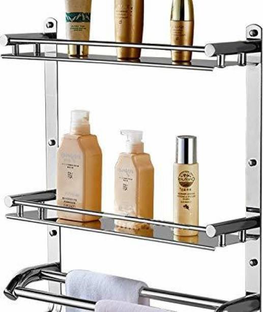 HINIRY Stainless Steel Double Layer Shelf withTowel Rod Stainless Steel Wall Shelf