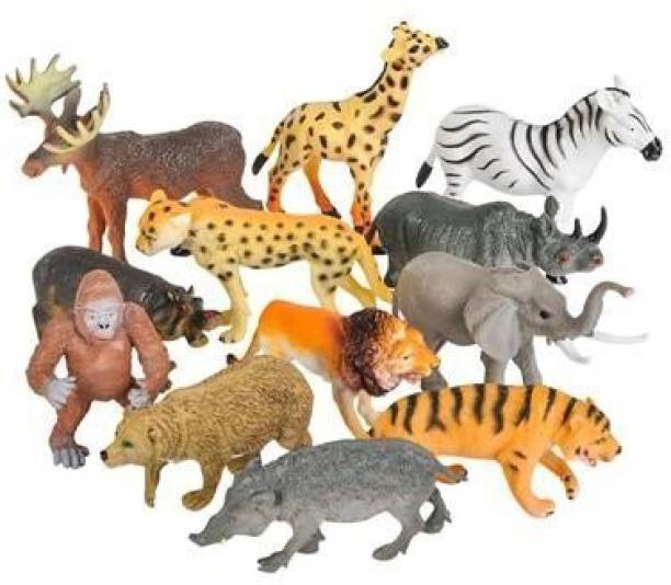 BVM Wild Animals Figures Set For Kids - Pack Of 12 Animals (Multicolor)