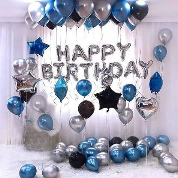 HERDEM Solid Happy Birthday Foil Balloon Silver Metallic Balloons Blue, Black and Silver Letter Balloon
