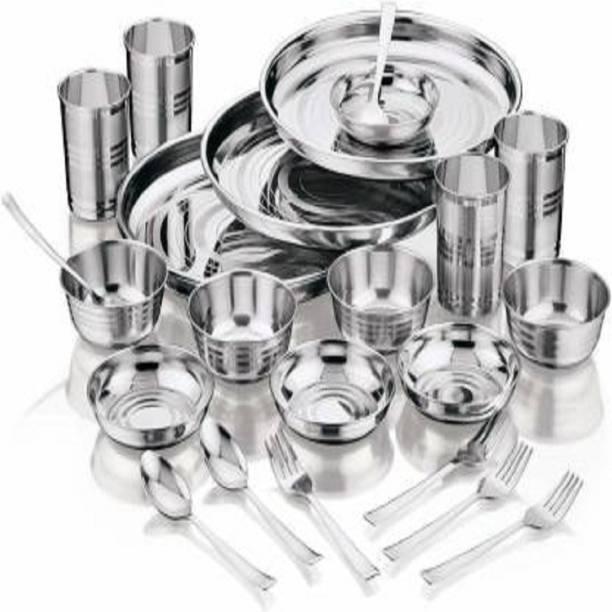 LAXMI BHARTER Pack of 24 Stainless Steel LAXMI BHANTER/Stainless Steel/(Pack of 24) Dinner Set