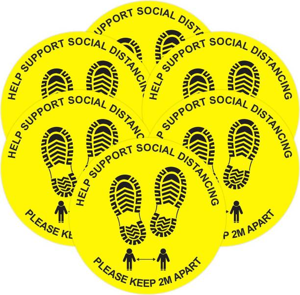 Anweshas Pack of 6 Help Support Social Distancing Please Keep 2M Apart Floor Sticker Emergency Sign