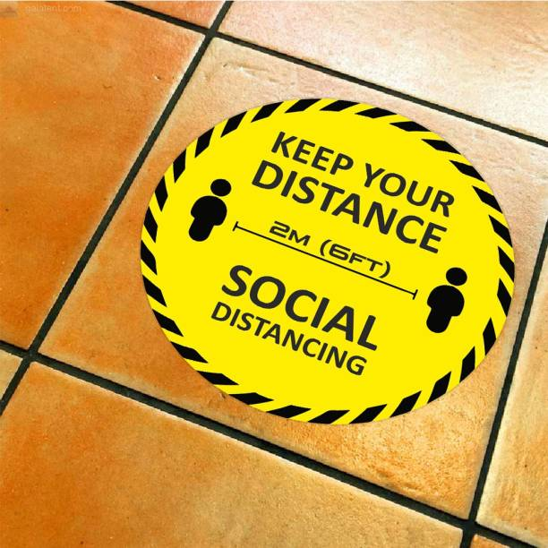 Anweshas Pack of 6 Keep Your Distance 2M (6Ft) Floor Sticker, Social Distancing Emergency Sign