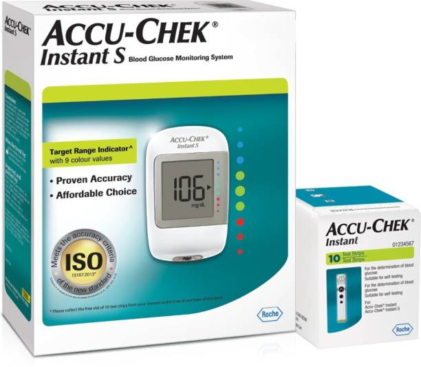 ACCU-CHEK Instant S Glucometer with Free Test Strips, 10 Count Glucometer