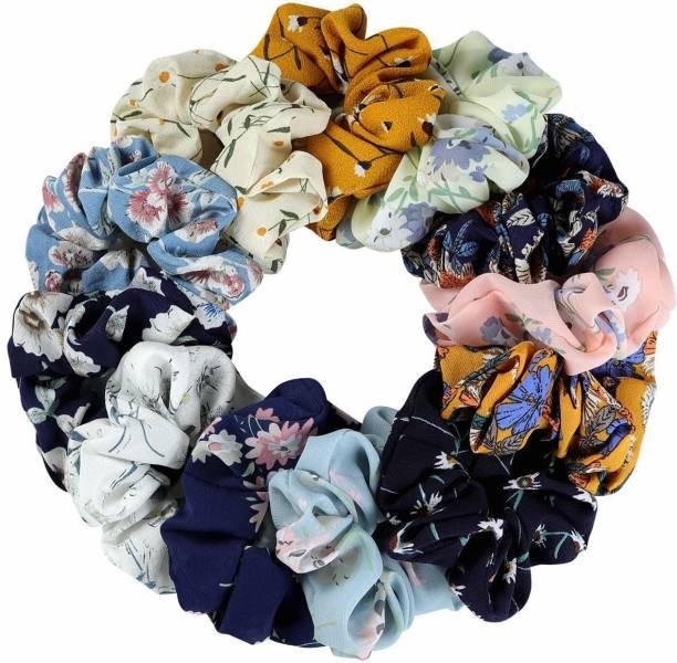PANKSHRI ENTERPRISE 7 Pcs Hair Scrunchies Chiffon Elastic Floral Hair Bands Rubber Band