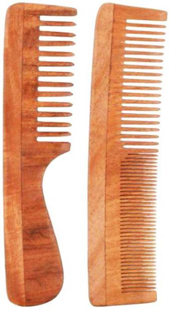 Tora Creations Neem wood Comb Combo set of 2 for Healthy Hairs