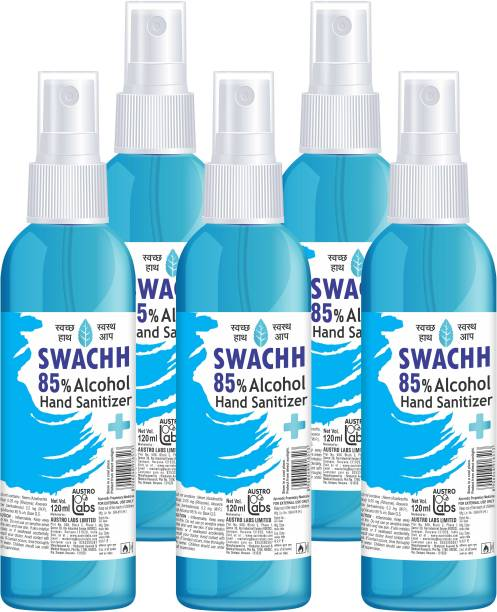 Austro Labs SWACHH HAND SANITIZER LIQUID SPRAY - 120 ML* 5 PC Sanitizer Spray Pump Dispenser