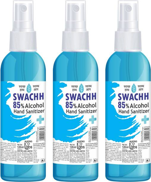 Austro Labs SWACHH HAND SANITIZER LIQUID SPRAY - 120 ML* 3 PC Sanitizer Spray Pump Dispenser