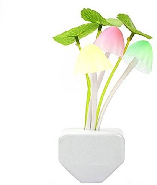 boxerdoll Light Sensor, Automatic Off/on Color Changing LED Mushroom Night Light Magic Lamp with Plug for Kids Bedroom (Multicolour) Plastic Light Socket