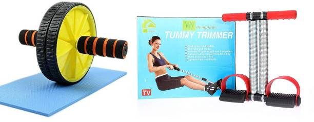 Manogyam Combo Of Tummy Trimmer And Ab Roller Ab Exerciser