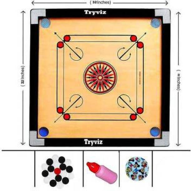 Domini Finish 32 Inch Full Size Carrom Board with Coins Striker Powder (Large Size) 80 cm Carrom Board