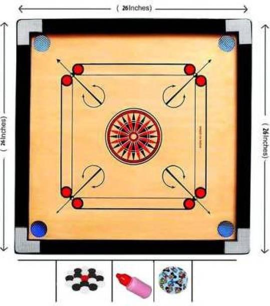 Domini Finish 26 Inch Carrom Board with Coins Striker Powder (Medium Size) 70 cm Carrom Board