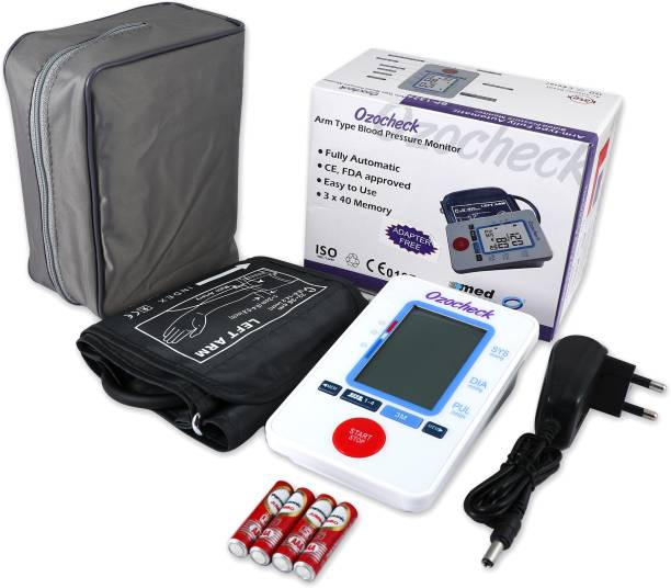 Ozocheck Fully Automatic Digital Blood Pressure and Pulse Rate Monitor For Accurate Results along with batteries and Free Adapter BPECO Bp Monitor