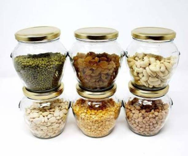 mahakal 500 ml Glass jar 6 Piece Spice Set