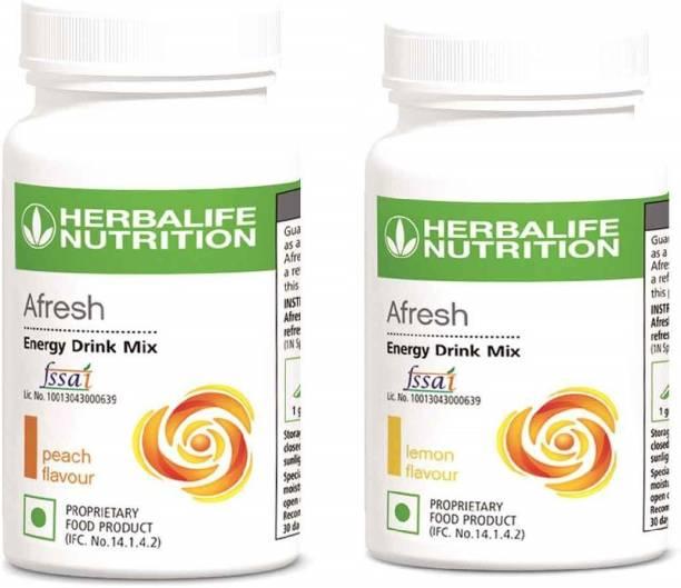 HERBALIFE Afresh Energy Drink Mix Lemon and Peach Flavor 50 GM in Pack of 2 Energy Drink