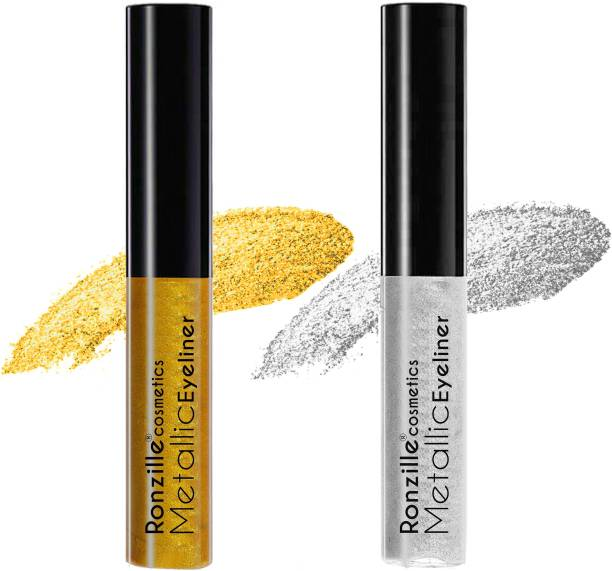 RONZILLE Combo of 2 Waterproof shimmer Metallic Glitter Eyeliner ( Silver,Gold) 10 ml