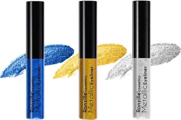 RONZILLE Combo of 3 Waterproof shimmer Metallic Glitter Eyeliner ( Silver, Blue, Gold) 15 ml
