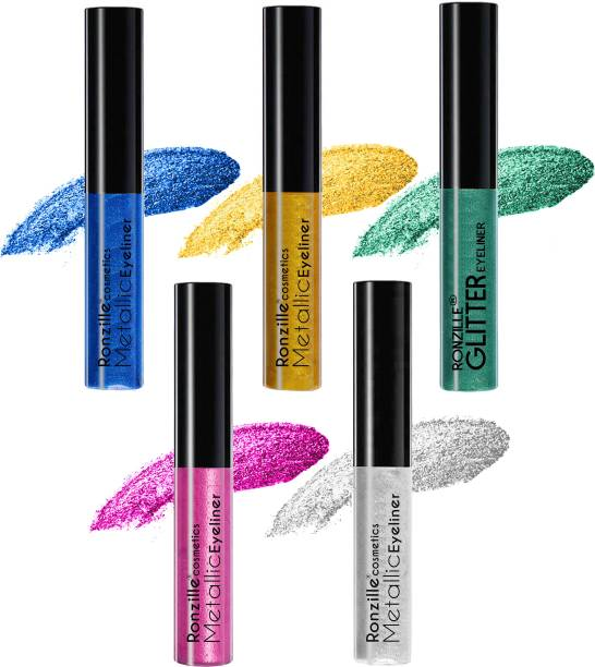 RONZILLE Combo of 5 Waterproof shimmer Metallic Glitter Eyeliner ( Blue,Green,Gold,Pink,Silver) 25 ml