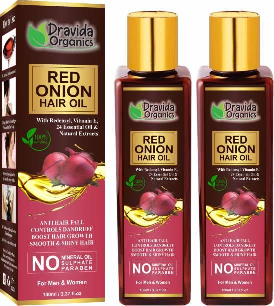 Dravida Organics Red onion Hair Oil with Keratin Protein , Nourishes hair follicles, Anti - Hair loss, Regrowth (Pack of 2) Hair Oil