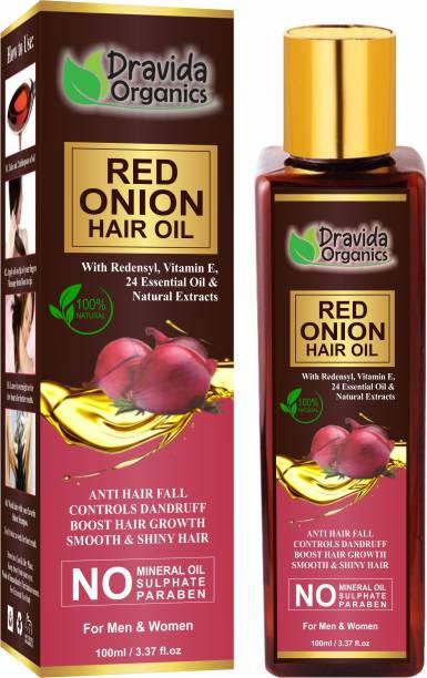 Dravida Organics Red onion Hair Oil with Keratin Protein , Nourishes hair follicles, Anti - Hair loss, Regrowth Hair Oil