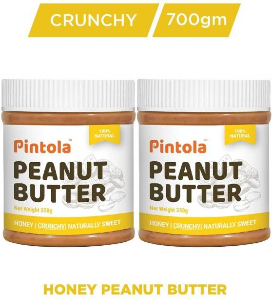 Pintola All Natural Honey Peanut Butter (Crunchy) Pack Of 2 700 g