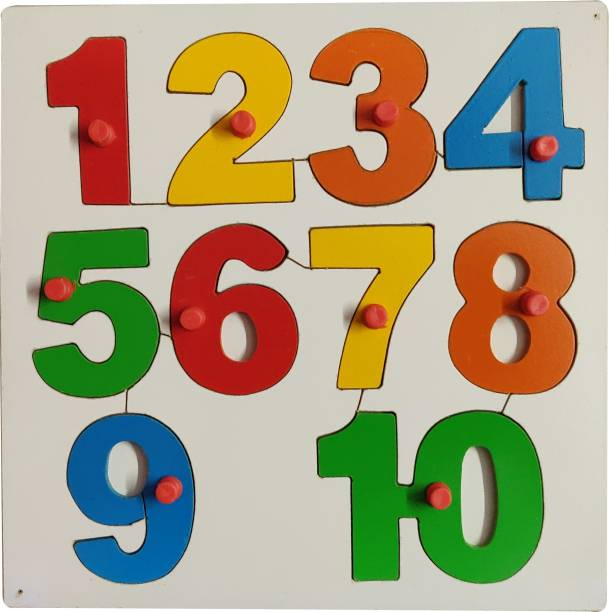 """Kidzoo Wooden Puzzles - Counting Numbers 1 to 10 Puzzle Multicolor - 10 Pieces - Size 9""""x 9"""" inches"""