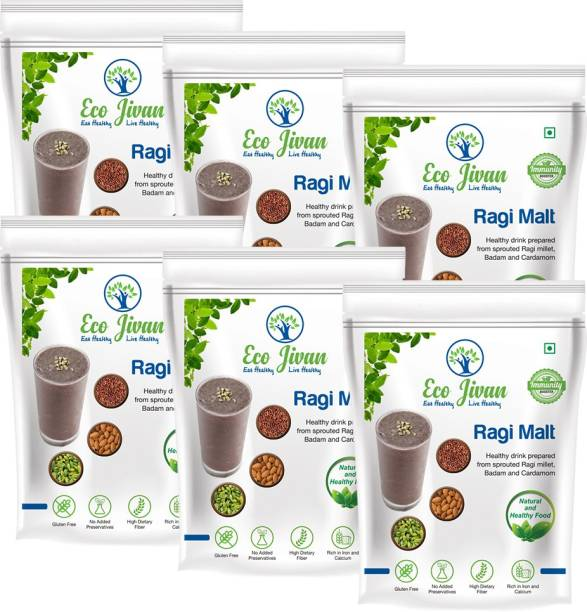 ECO JIVAN RAGI MALT NATURAL - WITHOUT SUGAR COMBO PACK (Pack of 6, 200 g Each) 1200 g