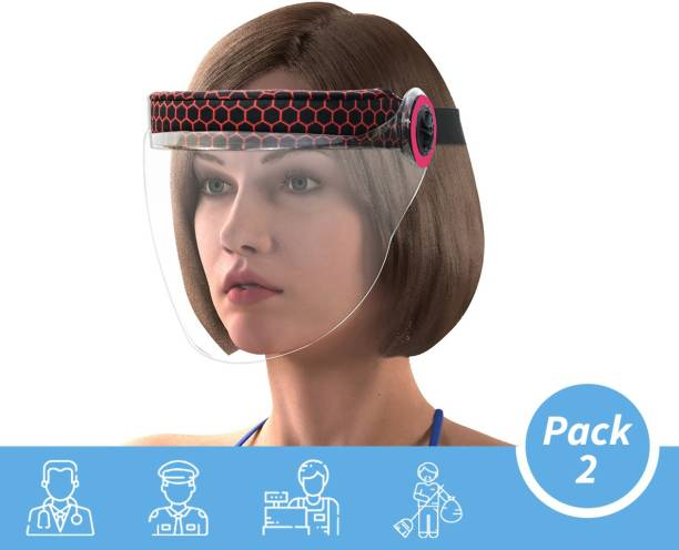 Steelbird IGN-1 Pack of 2 Static Women Face Shield Universal Size, Full Face Protector For All Women Front Line Warriors ( Doctors, Nurses, Police, Shopkeepers, Any staff ) Safety Visor