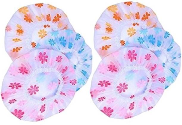Tifurko Men's & Women's Plastic Printed Shower Cap With Elastic Band Reusable Shower Cap Multi color