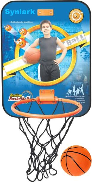 Synlark Adjustable Basket Ball Kit with Hanging Board Stand for Kids (Multi-Color) Basketball