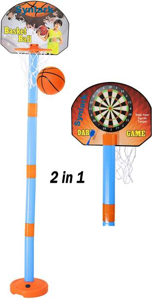 Synlark Adjustable Basket Ball Kit Hanging Board Stand With Magnetic Dart Game with 3 multicolor darts for Kids (Multi-Color) Basketball