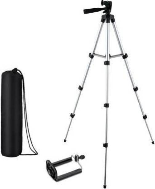 SKYTOP Camera Tripod Stand With 3-Way Head Tripod for Digital Camera DV Camcorder, Tripod 3110 with mobile Phone holder mount Tripod (Silver, Black, Supports Up to 1500 g) Tripod