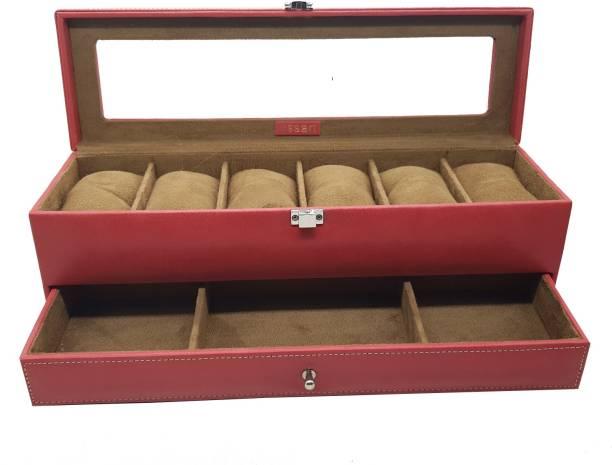 Essart Faux Leather 2 Layer Jewelry Cum Watch Display Box for Jewlery, Earring, Rings, Cufflinks - Maroon Jewelry Accessory Box, Makeup Box Vanity Box
