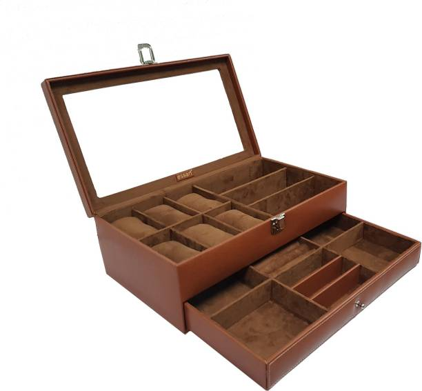 Essart Faux Leather Double Layer Jewelry Cum Watch Display Box for Jewellery, Earring, Rings, Cufflinks - Tan Essart faux leather suede finish double layer Multipurpose Jewelry Organiser cum Watch Display Box with transparent lid feature, Upper layer contains 6 watches and 3 sunglasses & Lower layer contains 6 compartments for organising jewelry, bangles, rings or cufflinks. (4 compartments contains for chains / mangalsutra's, bangles, rings, earrings, braclets etc, one section for cufflinks and another for nosepins, payals, rings or earrings or other jewelry accessory), Jewelry Cosmetic Organizer Case with transparent lid feature or lock closure, Vanity Jewelry Cosmetics Makeup Box or Gift Box Beauty, Travel Makeup Box::Jewellery case::vanity box, Jewelry box::Jewelry Accessory Box::Makeup Box Vanity Box