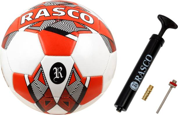 RASCO GERMANY WHITE FOOTBALL WITH PUMP MACHINE STITCHED UNDER 14 Football - Size: 5
