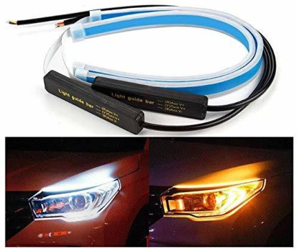 ACUTAS 60 Cm Flexible Daytime Running Light for Cars with Matrix Yellow And White Indicator Car Fancy Lights