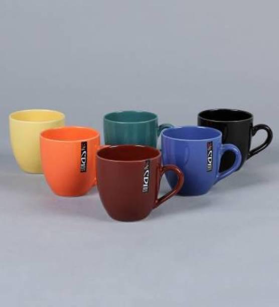 Onisha Unique Ceramic Glossy Black Colour Milk / Coffee 275 Ml Set Of 6 Ceramic Coffee Mug