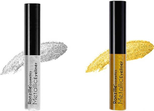 RONZILLE Glitter Liquid Eyeliner Gold Silver ( Pack of 2 ) 5.1 ml