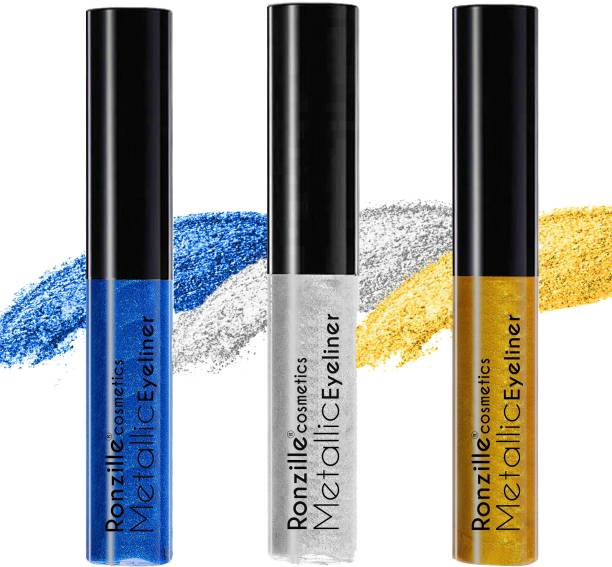 RONZILLE Combo of 3 Waterproof Metallic Glitter Eyeliner ( Blue,Silver.Gold) 5 ml