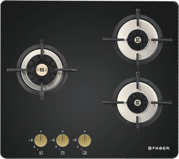 FABER Faber Hob 3 Burner Auto Electric Ignition Glass Top (Maxus HT603 CRS BR CI AI) Black Glass Automatic Hob