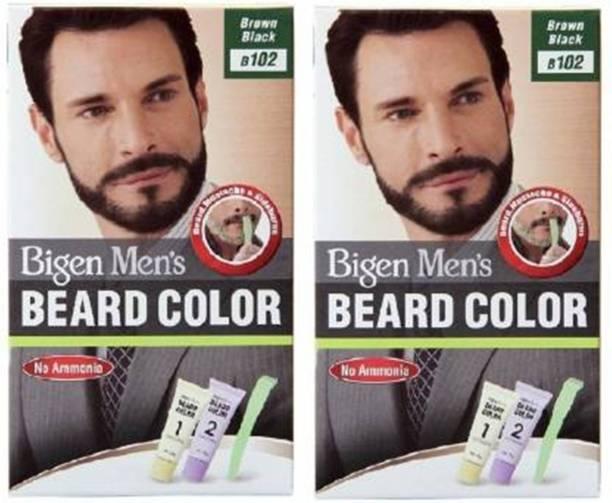 Bigen Men's Beard Color No. 102 Brown Black Combo ( pack of 2 ) Hair Color , Brown, Black