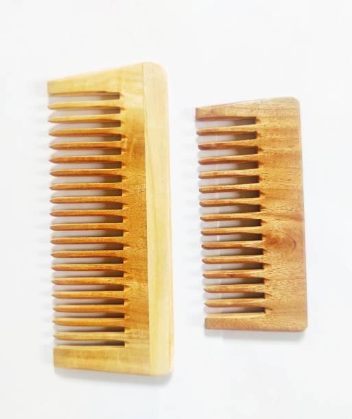 Prakrtik Neem Wood Detangling Comb - Combo of 2