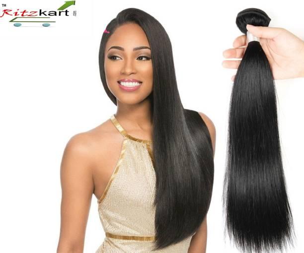 Ritzkart WOMEN HAIR WEFT, FEEL REAL HUMAN HAIR UNPROCESSED BRAZILIAN STRAIGHT HAIR WEFT 20 INCH LONG NATURAL BLACK HIGH FIBER EXTENSION WEFT 1 BUNDLE 80 GM (Double drawn) Hair Extension