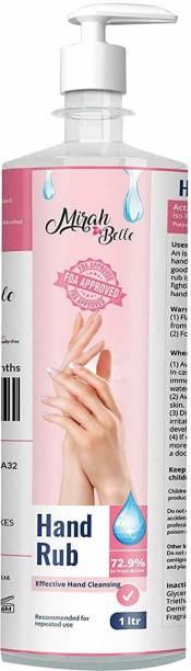Mirah Belle Hand Rub Sanitizer (1000 ML) - FDA Approved (72.9% Alcohol) - Best for Men, Women and Children - Sulfate and Paraben Free - 1 Ltr Bottle With Dispenser Pump Hand Rub Pump Dispenser