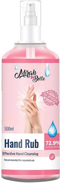 Mirah Belle Hand Rub Sanitizer Spray (500 ML) - FDA Approved (72.9% Alcohol) - Best for Men, Women and Children - Sulfate and Paraben Free - Vegan and Cruelty Free Hand Cleanser Hand Rub Pump Dispenser