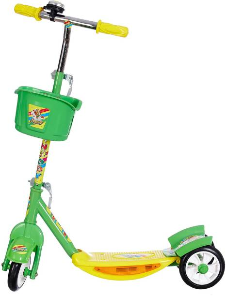 Miss & Chief Noddy 3 Wheel Adjustable Height Kids Scooter with Storage Basket , Bell , Foot Break , Weight Capacity 40 kgs (4 to 9 Years, Green )