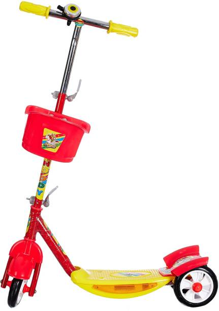 Miss & Chief Noddy 3 Wheel Adjustable Height Kids Scooter with Storage Basket , Bell , Foot Break , Weight Capacity 40 kgs (4 to 9 Years, Red )