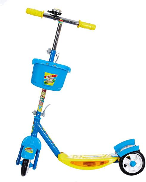 Miss & Chief Noddy 3 Wheel Adjustable Height Kids Scooter with Storage Basket , Bell , Foot Break , Weight Capacity 40 kgs (4 to 9 Years, Blue )
