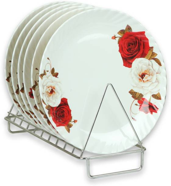 Golden Fish Melamine Red & White Roses Printed Full Size Round Dinner Plate (Set of 6; 11 Inches) Dinner Plate