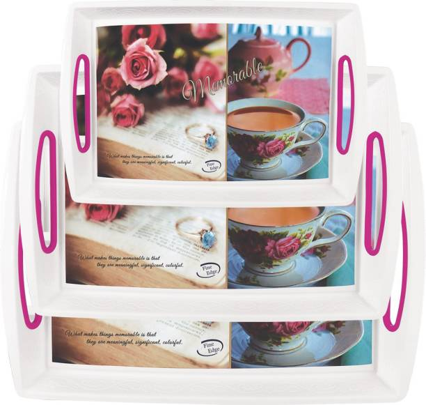 Inddus Home Serenity Serving Tray Set of 3 Pcs, Deep Designed with Fine Handel - Large, Medium, Small (Pink) Tray